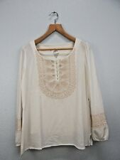 MiracleBody MiracleSuit Womens Poet Embroidered Peasant Top Blouse Sz M
