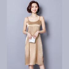 Lady Silk Feel Full Slip Cami Dress Petticoat Lingerie Midi Satin Night Gown New