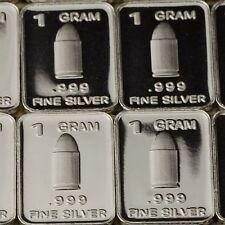 """""""Silver Bullet"""" Design. Lot of 10, 1 gram .999 Fine silver bullion Bar. New!"""