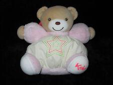 Doudou boule Ours beige, écru et rose pastel étoile Kaloo 15 cm