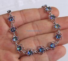 18K White Gold Filled-Blue MYSTICAL Topaz Flower Hollow Jewelry Bracelet  Noble