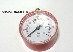 PRESSURE GAUGE AIR OIL WATER 0-25 BAR 0-360 PSI 50mm DIA DIAL 1/8 BSP 50.086