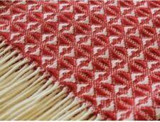 TWEEDMILL Red & Cream Cobweave Throw 100% Pure New Wool Blanket Made In UK
