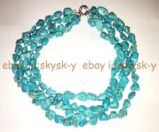 Wedding Woman Jewelry Baroque Turquoise Stone Choker Necklace 4 Rows Exaggerate
