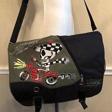 Don Ed Hardy Speedy Messenger Bag Christian Audigier Green Black Skeleton  Promo 877fa1dbc9225
