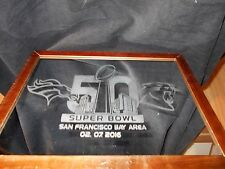 2016 SUPERBOWL 50 CAROLINA PANTHERS DENVER BRONCOS ETCHED MIRROR DARK WOOD FRAME
