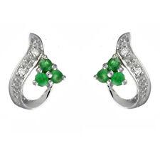 Ivy Gems 9ct White Gold Emerald & Diamond Swirl Stud Earrings