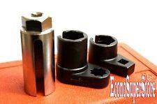 3pc Oxygen Sensor Low Profile OffSet Universal Vacuum Socket Set 22mm 7/8