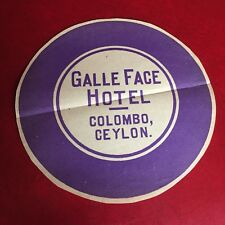 Galle Face Hotel Columbo, Ceylon LUGGAGE LABEL for Vintage Trunk Antique 1900's