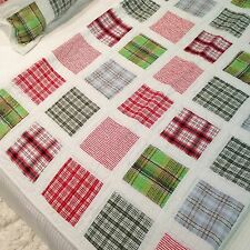 """Throw Quilt Blanket White Green Red Blue Patchwork 150x150cm 59""""sq."""