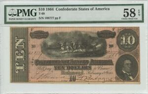 $10 1864 Confederate States of America T-68 PMG 58 Ch About Unc EPQ