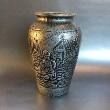 "Antique Vintage Medalta Pottery Earthenware Silver Homestead 9.5"" Vase Studio"