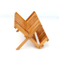 Foldable Bamboo Dish Drying Rack Plate Cup Drainer AU