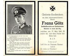 VINTAGE WW2 GERMAN DEATH CARD-FRANZ GOTZ-INF RGT-FELL 17 MAY 1940