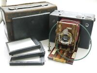Sanderson Roll Film & 1/4 plate c1903. Leather covered, Mahogany, Red Bellows