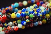 Mixed  Color Round Flower Millefiori Glass Beads Jewelry Finding 6mm 8mm 10mm