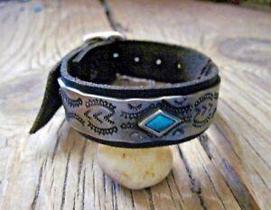 Men's Black Leather Cuff Bracelet * Deep Stamping * Sundance Catalog Artist