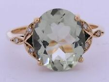 R099 -Solid 9K Rose Gold Natural Green Amethyst & Diamond Solitaire Ring size N