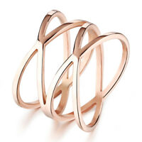 Hollow Twist Rose Gold GP Wrap Surgical Stainless Steel Ring Size 5 6 7 8 Gift