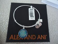 Alex and Ani LIFE IS GOOD Shiny Silver Charm Bangle New W/ Tag Card & Box