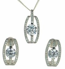 Solid 925 Sterling Silver Lab Simulated Diamond Necklace and Earrings Set '