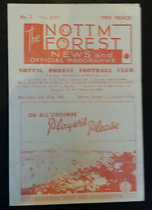 1945/46 NOTTINGHAM FOREST v LEICESTER CITY Very Good Condition