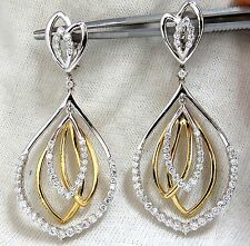 2.30ct natural diamonds 4 Tier loop dangle earrings 14kt G/Vs
