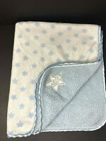 Child of Mine Carters White Baby Blanket Blue Stars Sherpa Satin Trim Plush