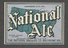 National Ale Beer bottle label IRTP, Baltimore, MD, 1930s