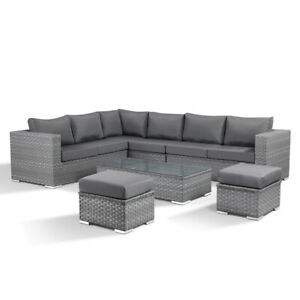 Layla Grey Garden Wide Rattan Corner Sofa with Coffee Table and 2 Stools
