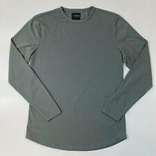 Cuts Clothing Long Sleeve Crew Neck Curve Hem T-Shirt Sage Green S M L XL XXL