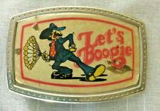 Vintage Let's Boogie Belt Buckle 1970's  Disco Pimp Zoot Suit