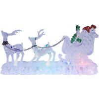 Indoor Colour Changing LED Reindeer And Sleigh Christmas Ornament Decoration New
