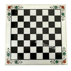 White Marble Coffee Cum Chess Table Inlay Corner Table with Gemstones 14 Inches