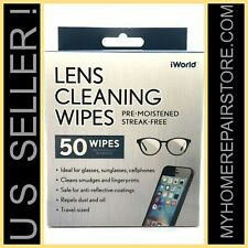 FREE S&H!— IWORLD —50— LENS CLEANING WIPES —GLASSES—COMPUTER—CELL PHONE— CLEANER
