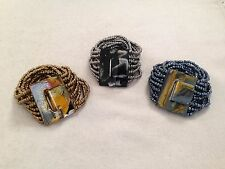 Lot of 3:Metallic Grey Gold Silver Beaded Bracelet Cuff Painted Wood Buckle
