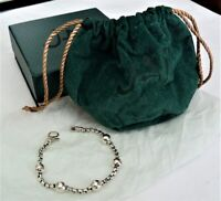 JAI JOHN HARDY .925 STERLING SILVER HAMMERED BEAD CHAIN BRACELET NEW IN BOX 7""