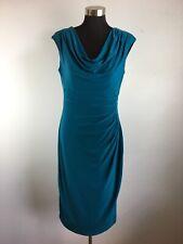 Ralph Lauren Womens Sheath Dress 12 L Blue Aqua Teal Cowl Neck Ruched Sleeveless