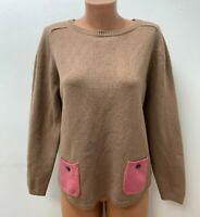 BODEN Gr.UK 18 DE 42 80%WOLLE Langer Pullover Taschen Rosa Beige