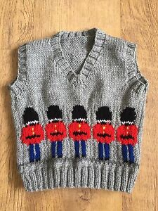 New Hand Knitted Boys Grey Tank Top With Red Soldiers Size 2-3 Years