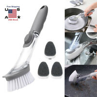Soap Dispenser Dish Brush Bristles Sponge Pot Pan Kitchen Cleaning Washing Tool