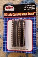 """N Scale Atlas Code 80 1/2"""" 11"""" Radius Curve sections (pack of 6) # 2521 NIP B"""