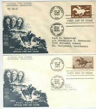 PONY EXPRESS CENTENNIAL ASSOCIATION SET OF 2 U543 Env.+ 1154 Stamp EAST + WEST