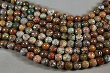 "NATURAL AFRICAN GREEN OPAL 8MM FACETED ROUND BEADS 15.5"" STRAND"