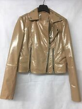 Genuine Women's Leather Beige Patent Biker Jacket. UK 10.
