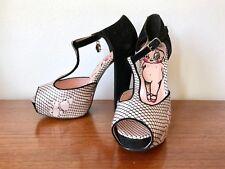 IRON FIST Size 7 Women PLATFORM Ankle T-Strap Velvet Satin Heels SHOES Pin-up EC