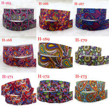 "7/8""10 yards  Paisley Flowers Printed Grosgrain Ribbon  DIY Hair Bow Gift packag"