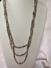Lucky Brand Silver Beads Gold Beads Multi Layer Necklace O 127