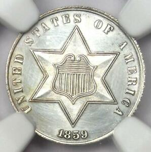 1859 Three Cent Silver Coin 3CS - Certified NGC UNC Details (MS) - Rare Coin!
