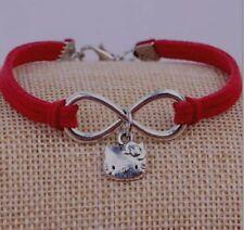 European HelloKitty Silver Plated Bracelets Pendants Hand Braided Velvet Charms